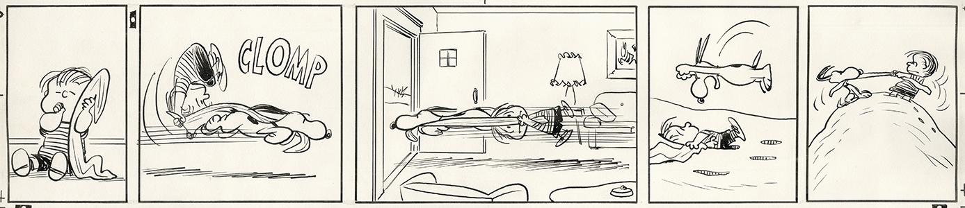原画「ライナスの大切な安心毛布をつけ狙うスヌーピー」1960/1/10