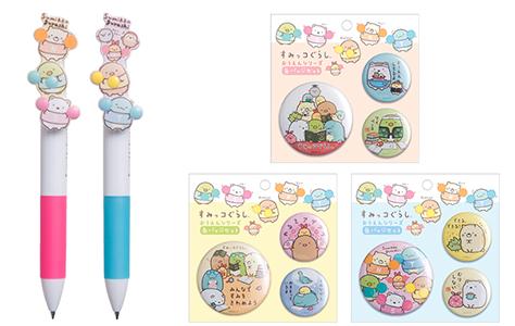 応援デザイングッズの3色ボールペンと缶バッジセット